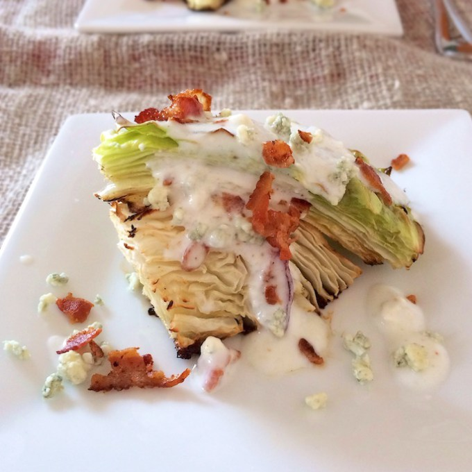 5 Easy Ways to Use Up Cabbage like this Roasted Cabbage Wedge Salad - recipe at Teaspoonofspice.com