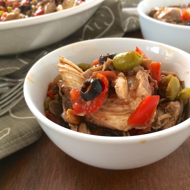 Stovetop chicken dinner flavored with olives, peppers, mushrooms and smoked paprika. teaspoonofspice.com @tspbasil