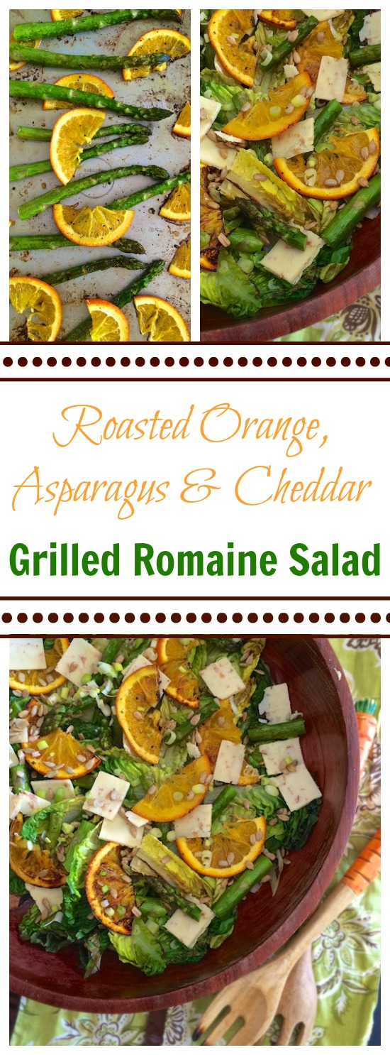 This 'transition to spring' salad includes roasted orange slices and roasted asparagus tossed with cheddar, sesame seeds and grilled romaine lettuce. Teaspoonofspice.com @tspbasil