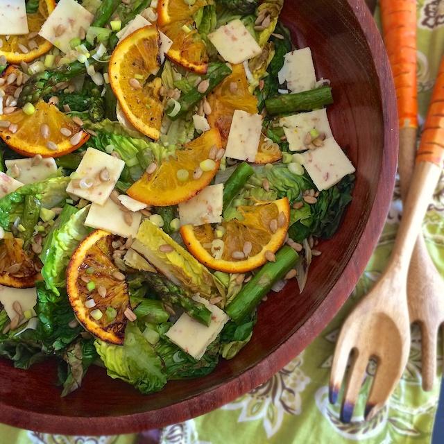 Roasted Orange Asparagus Cheddar Grilled Romaine Salad | Teaspoonofspice.com @tspbasil