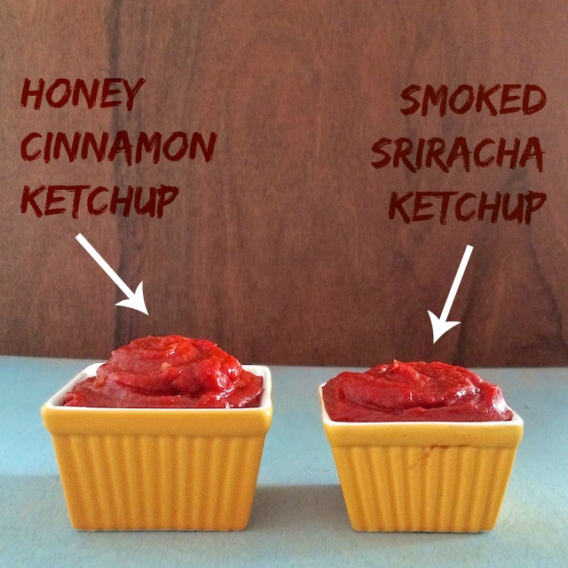Two flavors of homemade ketchup - made in minutes with pantry staples! Honey Cinnamon Ketchup and Smoked Sriracha Ketchup. Recipes at<a href=