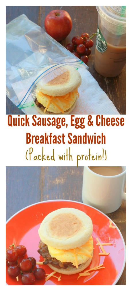 Quick Sausage Egg Cheese Breakfast Sandwich Packed with Protein | TeaspoonOfSpice.com
