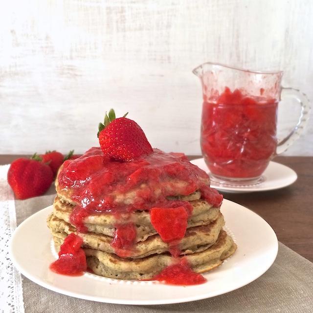 Whole Grain Pancakes with Strawberry Lemon Syrup | Teaspoonofspice.com @tspbasil
