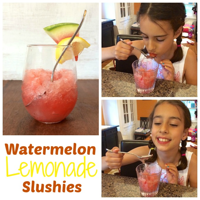 Take your summer watermelon to a new refreshing level with these watermelon lemonade frozen treats. Recipe for Watermelon Lemonade Slushies at Teaspoonofspice.com #lemonade #watermelon #summerdrinks #beverages #slushies #summerdesserts