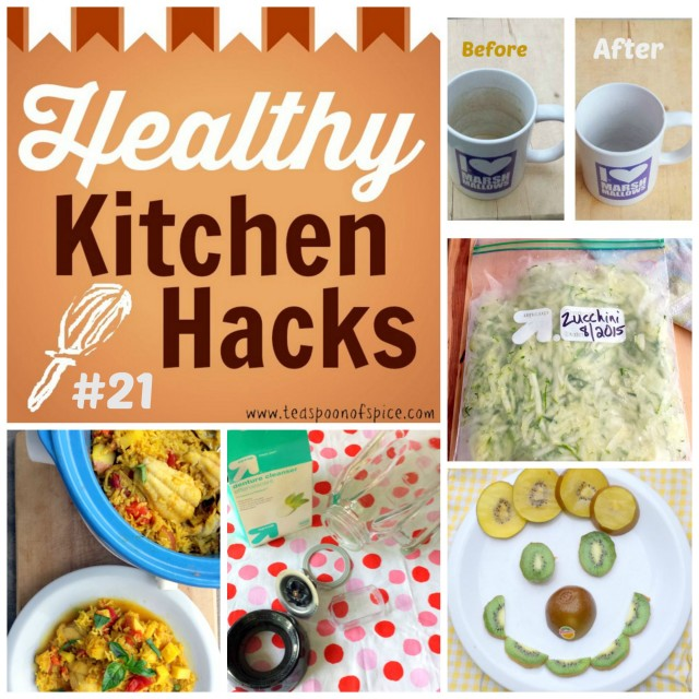 #HealthyKitchenHacks - How to clean coffee tea stains on mugs, How to freeze zucchini, Can you eat kiwi skin, How to Safely Clean a Blender, How to cook fish in slow cooker