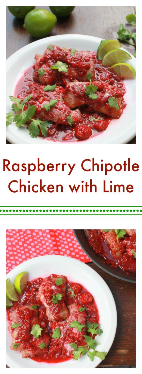 Raspberries are bold enough to stand up to these flavors: Sweet, spicy, with a hit of tart citrus: Raspberry Chipotle Chicken with Lime - @tspcurry