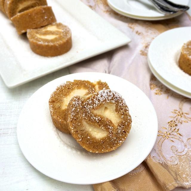 A classic pumpkin dessert gets a lighter twist with this butternut squash cake roll stuffed with Greek yogurt filling.