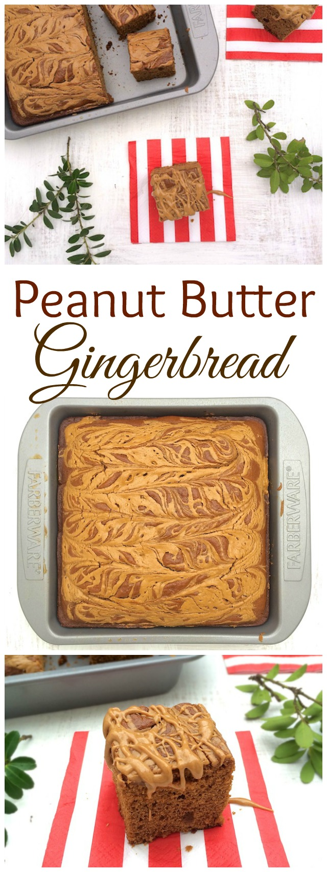 Swirls of peanut butter on top of gingerbread for the holidays! @tspbasil