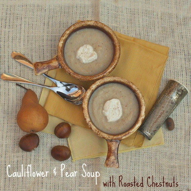 Roasted chestnuts are delicious in soups like this cauliflower and pear soup. @tspcurry