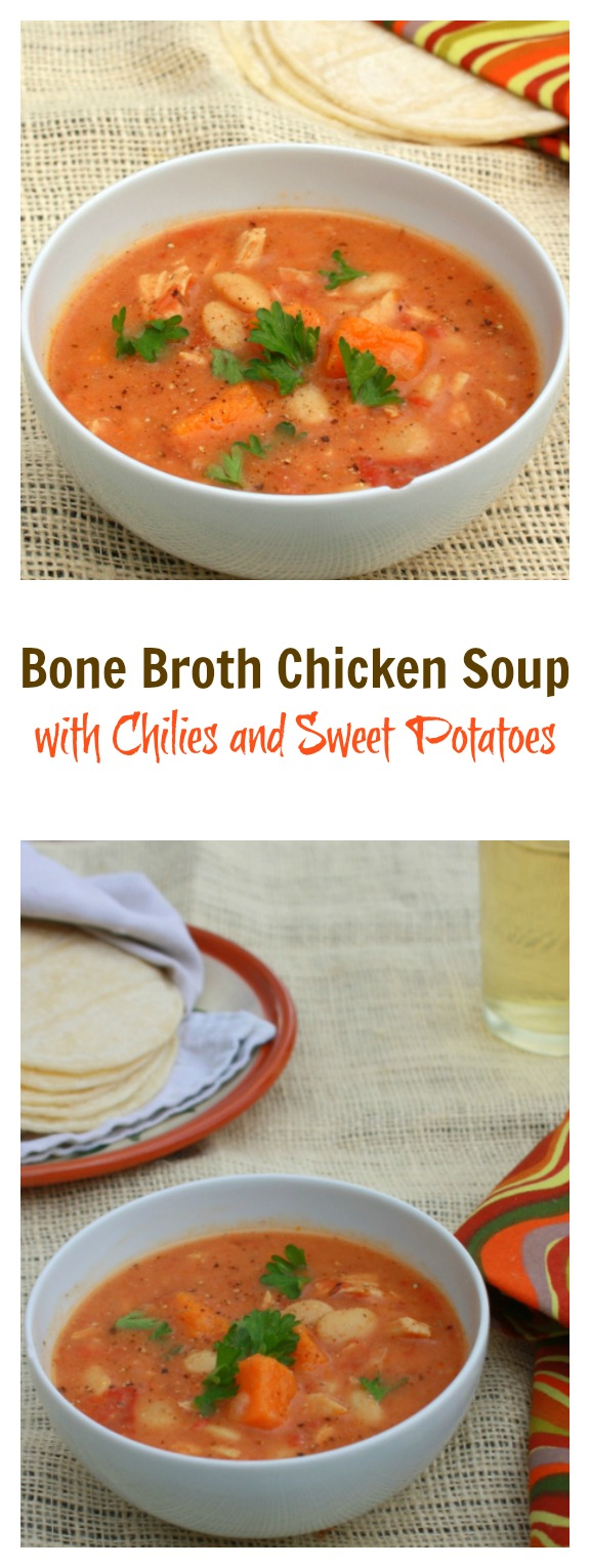 Bold new take on Chicken Soup: Bone Broth Chicken Soup with Chilies and Sweet Potatoes | @Tspcurry #AD