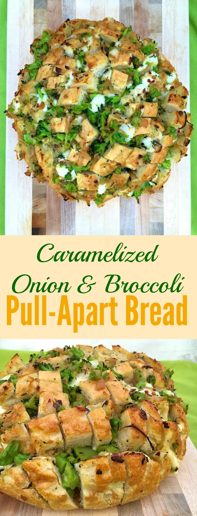 Caramelized Onion & Broccoli Pull-Apart Bread: A savory version of monkey bread featuring sweet onions, broccoli and melted cheese - perfect for game day or entertaining.
