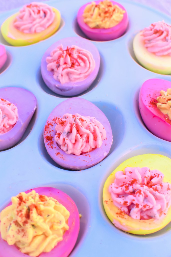With your leftover hard boiled eggs, make Naturally Dyed Deviled Eggs via Emily Kyle Nutrition