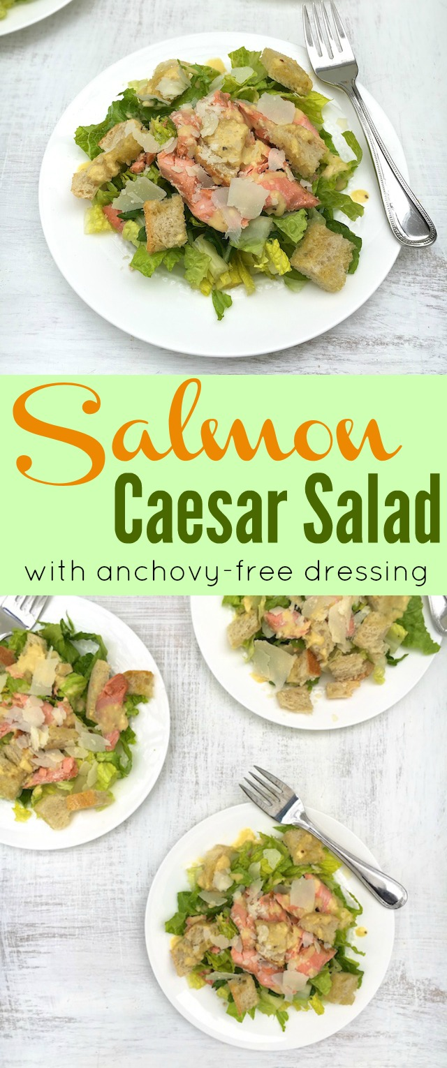 Salmon Caesar Salad with anchovy-free dressing @tspbasil
