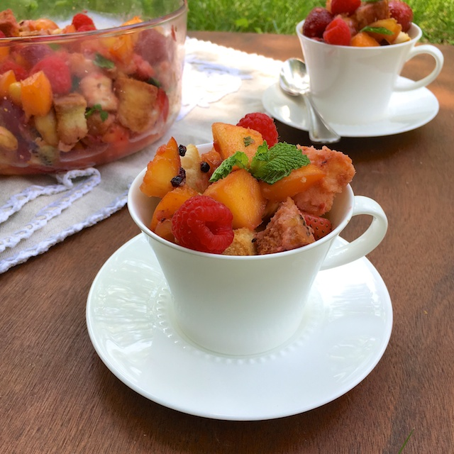 Kick off summer with a sweet and Italian twist to the classic fruit salad: Honey Panzanella Fruit Salad. @tspbasil