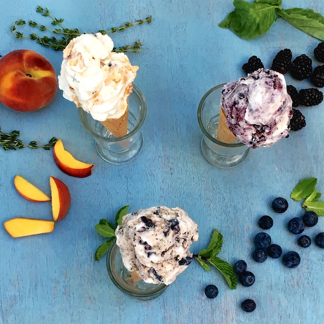 The easiest way to make summer fruit ice cream flavored with fresh herbs (no ice cream maker needed!)