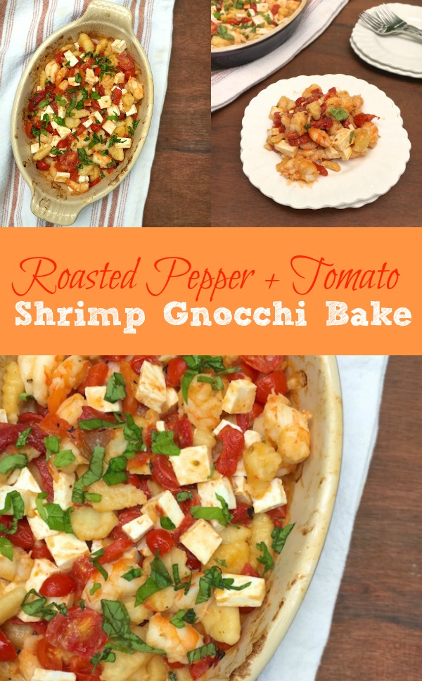 Get more seafood into your dinner routine with this pepper and tomato shrimp pasta bake.