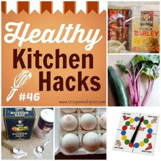 #HealthyKitchenHacks - Twister as Tablecloth, How to Store Whole Grains, How to Identify Hardboiled vs Fresh Eggs, Beet Bread, What's the difference between kosher salt and table salt   @tspcurry