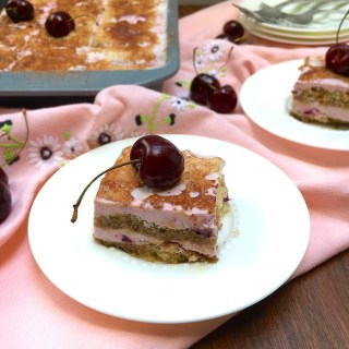 This cherry frozen Italian dessert features an unlikely ingredient – bean water!