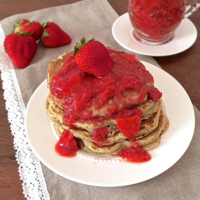Make these whole grain pancakes on the weekend and freeze for busy mornings on the run.
