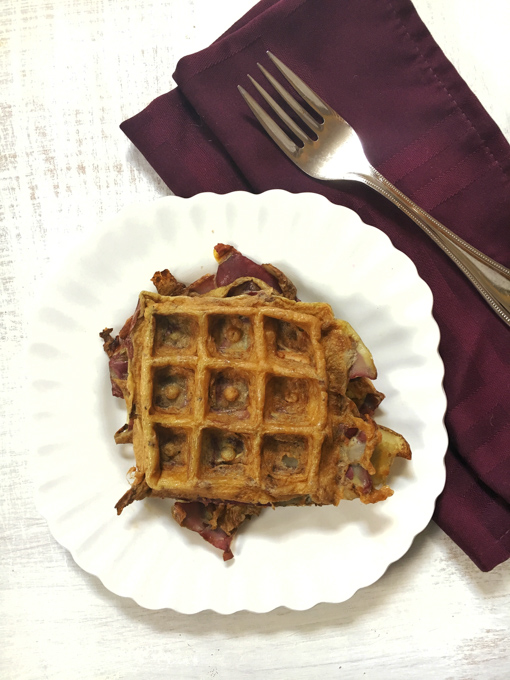 Healthy Kitchen Hacks: Take potato peels and make potato latke waffles!