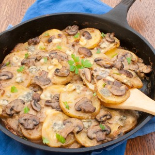 Easy update to this cozy casserole: SCALLOPED POTATOES WITH BLUE CHEESE AND MUSHROOMS   @TspCurry - For more #healthy recipes: TeaspoonOfSpice.com