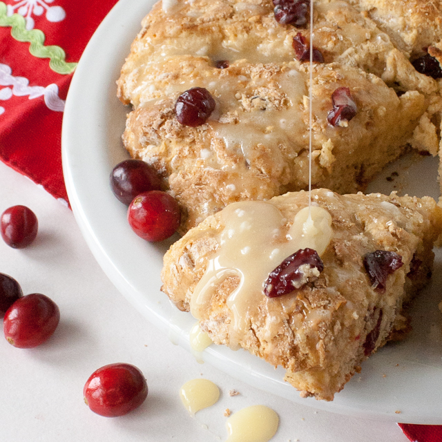 Easy to whip up for last minute guests - or just because they are soooo good: 5 INGREDIENT EGGNOG CRANBERRY SCONES   @TspCurry - For more holiday recipes: TeaspoonOfSpice.com