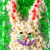 Pistachios + cranberries sweeten this treat: EASTER BUNNY POPCORN CAKE | @TspCurry = TeaspoonOfSpice.co
