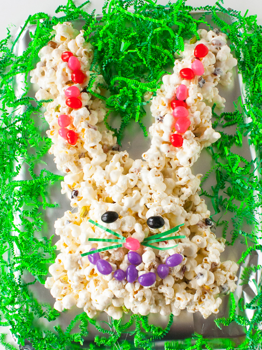 Pistachios + cranberries sweeten this treat: EASTER BUNNY POPCORN CAKE | @TspCurry = TeaspoonOfSpice.com