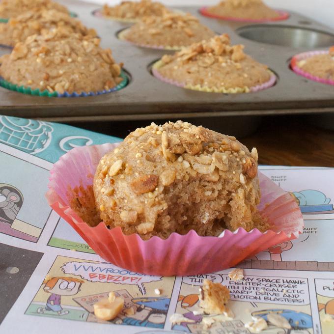 Crunchy Peanut Butter Granola Muffins | @TspCurry