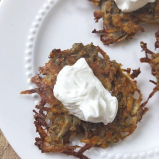 Avoid the splatter: oven-fry your latkes this year and try one of these five variations on this classic potato pancake. Recipe and tips at Teaspoonofspice.com #latkes #potatoes #pancakes #Hanukkah