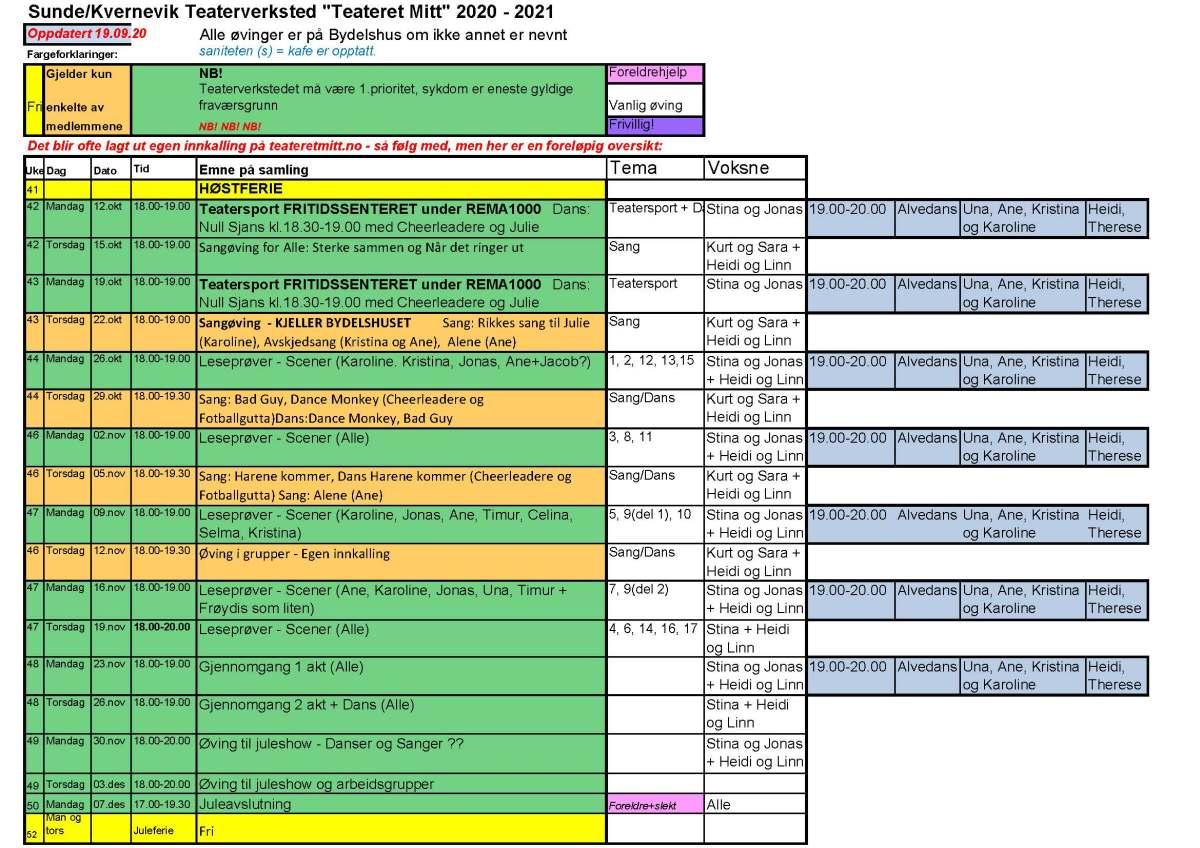 Øvingsplan fra uke 44 og frem til Juleavslutning
