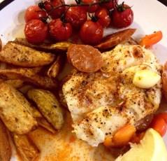 Paprika Baked Fish & Chorizo