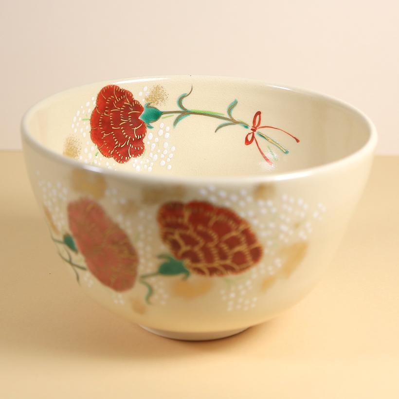 Vintage Matcha Bowl - Chrysanthemums