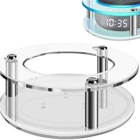 Geekria - Funda de acrílico transparente para Echo Dot (3ª generación) con reloj, soporte de pared para altavoces, soporte de pared, soporte de guardia estable, utilizado para 2019 Amazon All-New Echo Dot (3ª generación) Smart Speaker, White Round