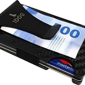 1dog Money Clip Cartera Tarjetero Porta Tarjetas Bloqueo RFID Minimalista Slim Wallet (Fibra de Carbono)