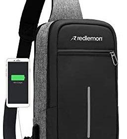 Redlemon Mochila Cruzada Impermeable Mini con Puerto USB para Power Bank (no incluida), Espacio para Tablet, Ideal para Deportes, Conciertos, Actividades al Aire Libre. Mariconera