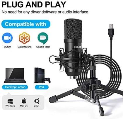 Risea Microfono para juegos USB condensador