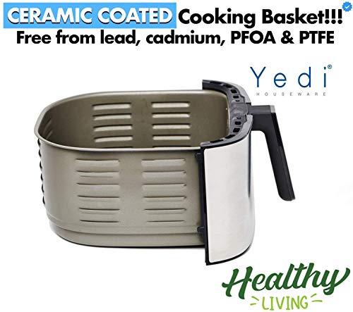 Freidora de Aire Yedi Evolution, 6.5 litros, acero inoxidable, cesta de cerámica para cocinar, con kit de accesorios de lujo y libro de recetas incluido. 3
