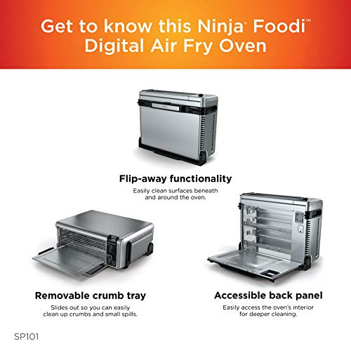 """Ninja Foodi 8-in-1 Digital, Toaster, Air Fryer, with Flip-Away for Storage Multi-Purpose Counter-top Convection Oven (SP101), 19.7"""" W x 7.5""""H x 15.1""""D, Stainless Steel/Black 5"""