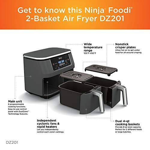 Ninja DZ201 Foodi Freidora de aire 6 en 1 de 2 canastas con tecnología DualZone, capacidad de 8 cuartos y acabado inoxidable gris oscuro 5