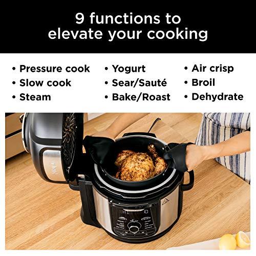 Ninja FD401 Foodi 8-Quart 9-in-1 Deluxe XL Olla a presión, Asar, deshidratar, cocinar a fuego lento, freidora y más, con acabado inoxidable 2