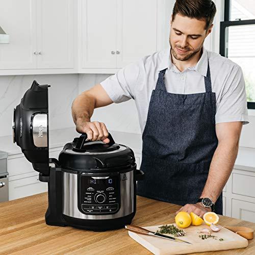 Ninja FD401 Foodi 8-Quart 9-in-1 Deluxe XL Olla a presión, Asar, deshidratar, cocinar a fuego lento, freidora y más, con acabado inoxidable 10