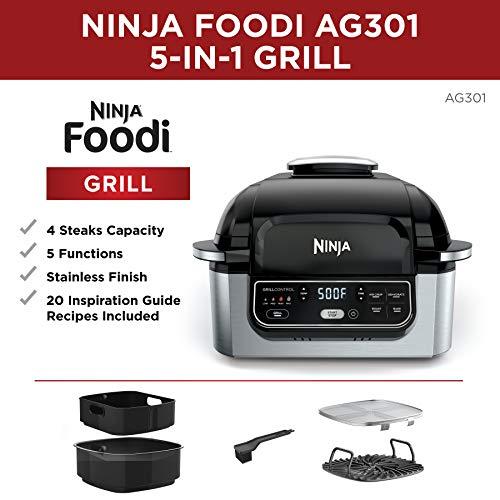 Ninja Foodi AG301 Parrilla eléctrica para interiores 5 en 1 con freidora de aire de 4 cuartos de galón, asado, horneado, deshidratado y tecnología de parrilla ciclónica 2