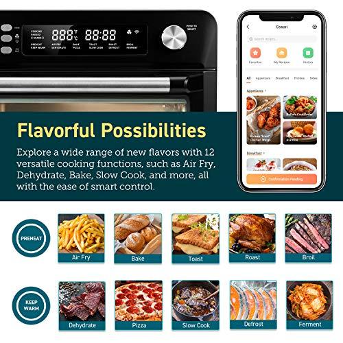 COSORI Smart 12 in 1 freidora de aire para horno, deshidratador de encimera para pollo, pizza y galletas, regalo de Navidad, recetas y accesorios incluidos, funciona con Alexa, 25 L, negro 4