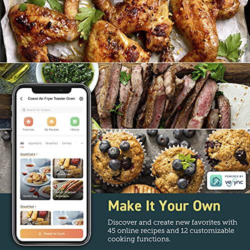 COSORI Smart 12 in 1 freidora de aire para horno, deshidratador de encimera para pollo, pizza y galletas, regalo de Navidad, recetas y accesorios incluidos, funciona con Alexa, 25 L, negro 5