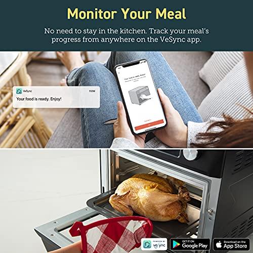 COSORI Smart 12 in 1 freidora de aire para horno, deshidratador de encimera para pollo, pizza y galletas, regalo de Navidad, recetas y accesorios incluidos, funciona con Alexa, 25 L, negro 6