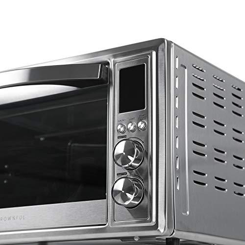 CROWNUL - Freidora de aire y tostador, horno tostador de convección de 32 cuartos con asador y deshidratador, accesorios y receta incluidos (idioma español no garantizado), certificado ETL 8