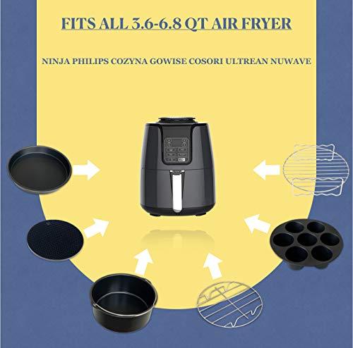 Accesorios para freidora de aire Phillips Nuwave Gowise Gourmia Ninja Dash Air Freidora XL de 5.3-8QT con bandeja de 8 pulgadas, bandeja de pizza, taza de silicona para hornear, estante para brochetas, papel de pergamino 2