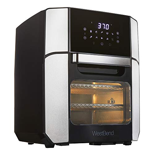 West Bend Freidora de aire eléctrica de 12.6 cuartos de galón con 10 presets digitales de menú rápido - hornear, asar, asar, deshidratar, recalentar, 1700 vatios, color negro 1