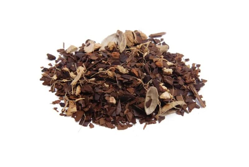 close up photo of Maté Chai loose leaf tea